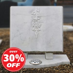 White Marble Open Book Memorial with Carved Rose
