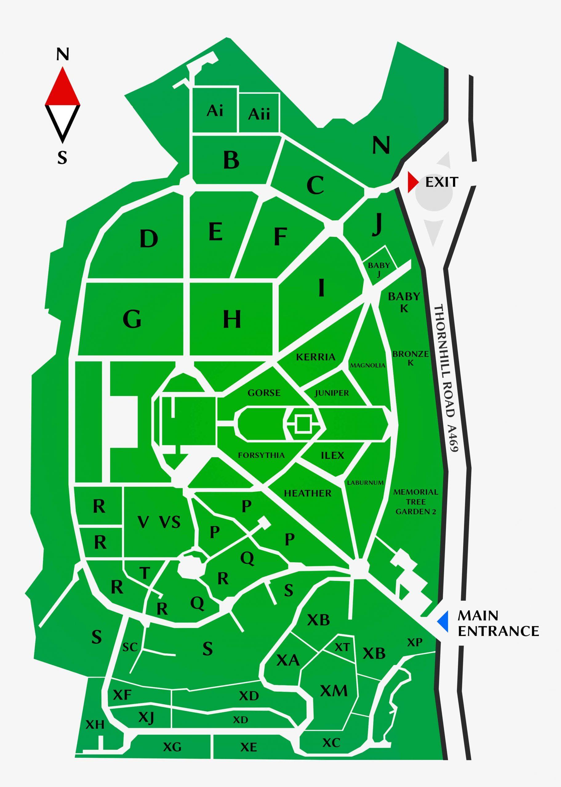 Thornhill Cemetery and Crematorium Map View Plan