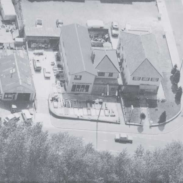 An aerial view of the Mossfords Culverhouse Cross branch in the late 1970s