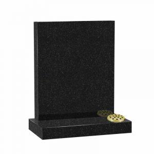 Flat top memorial headstone in black granite