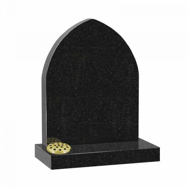 Gothic top memorial headstone in black granite