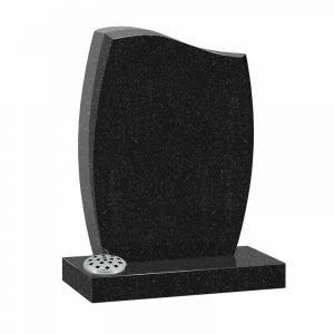 Half ogee top harp memorial headstone in black granite