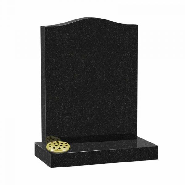 Ogee lawn memorial in black granite