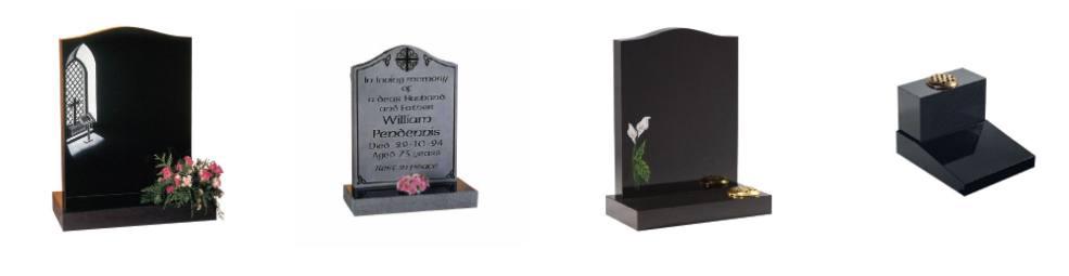 Modern headstones and memorials