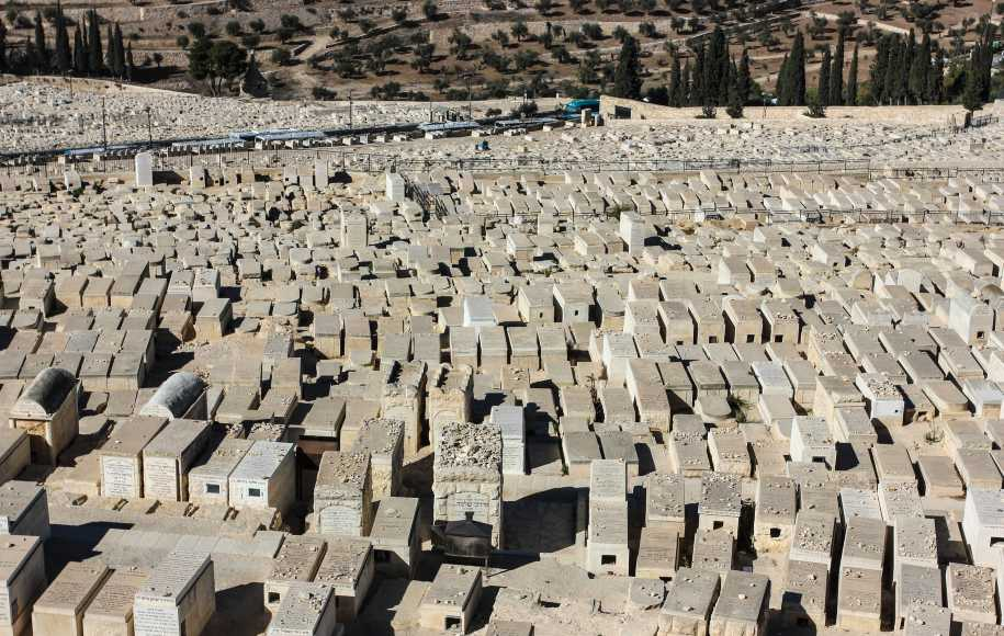 Arial view of Mount of Olives Jewish Cemetery in Jerusalem