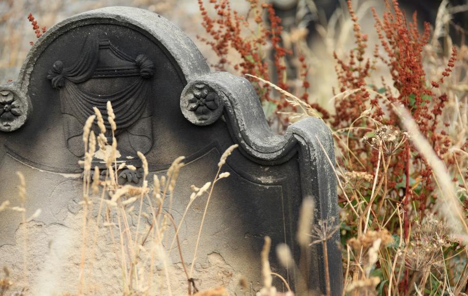 Old headstone in a graveyard
