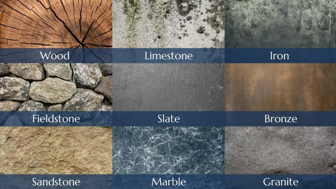 Popular headstone materials